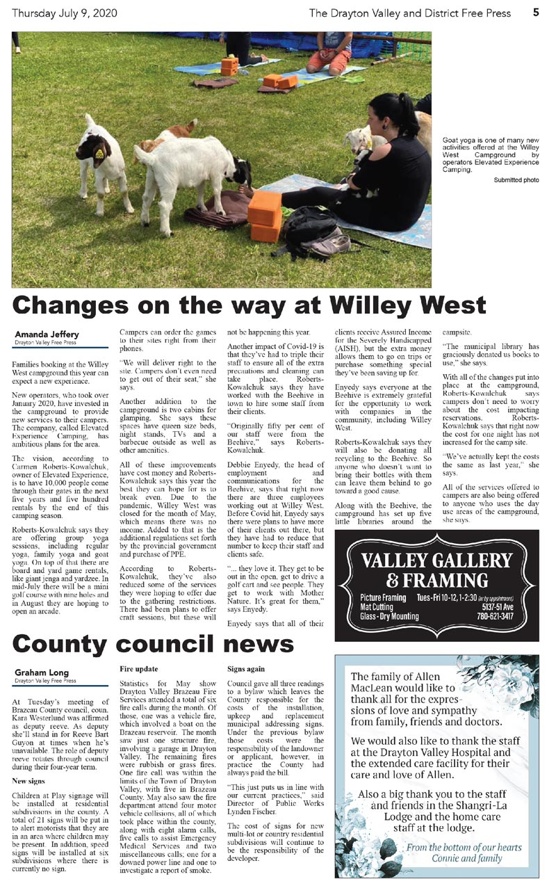 Goat Yoga Article in Drayton Free Press